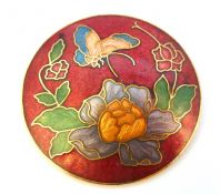 Vintage Large Red Cloisonne Enamel Flower And Butterfly Brooch.